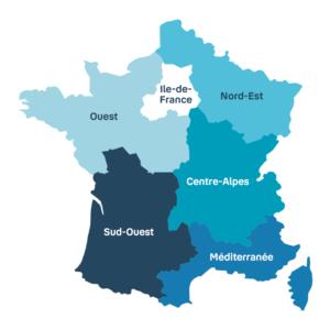 Les 6 directions régionales : Ouest, Sud-Ouest, Ile-de-France, Nord-Est, Centre-Alpes, Méditerranée